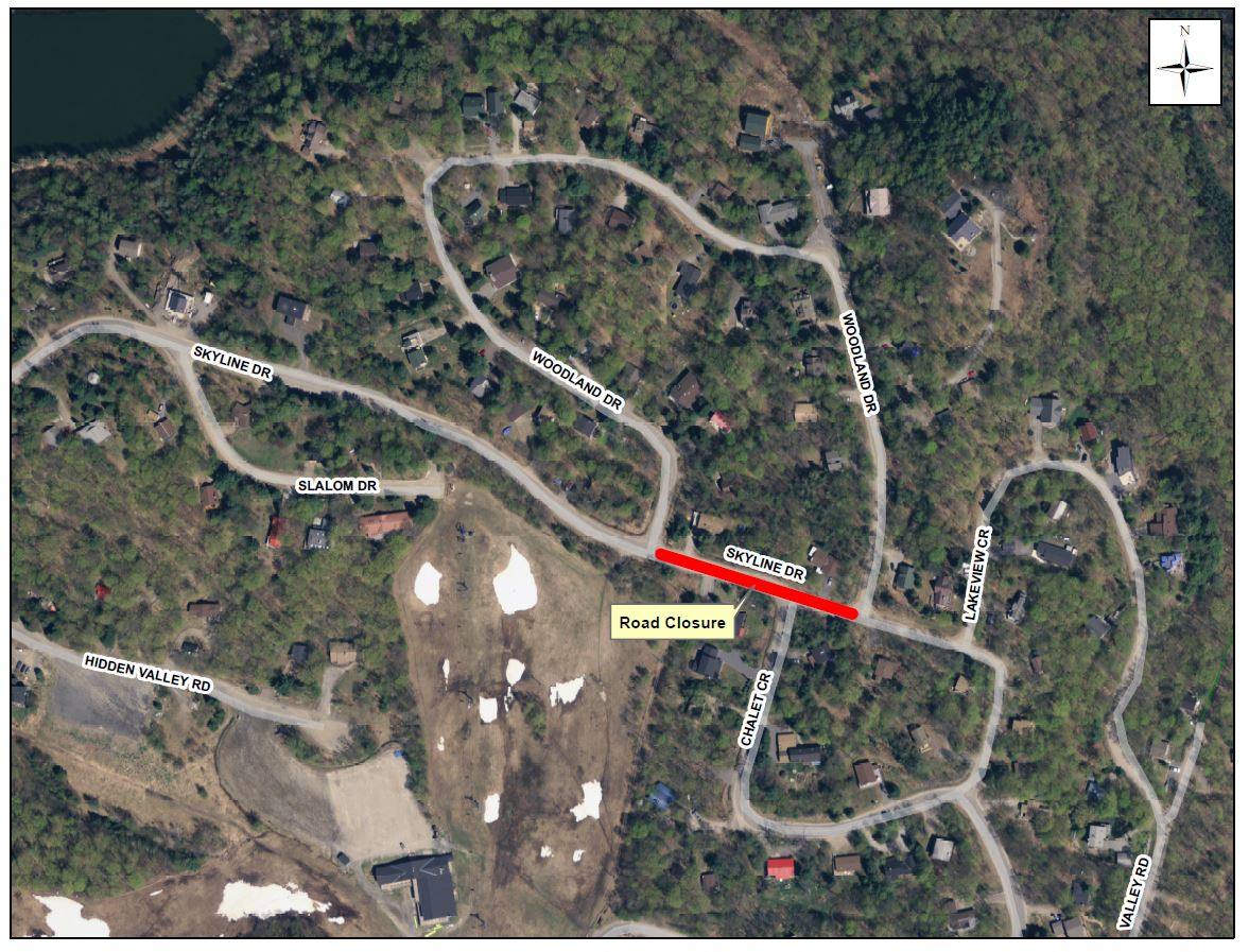Hidden Valley - Skyline Drive - Temp Road Closure for Watermain Repair - April 13, 2017