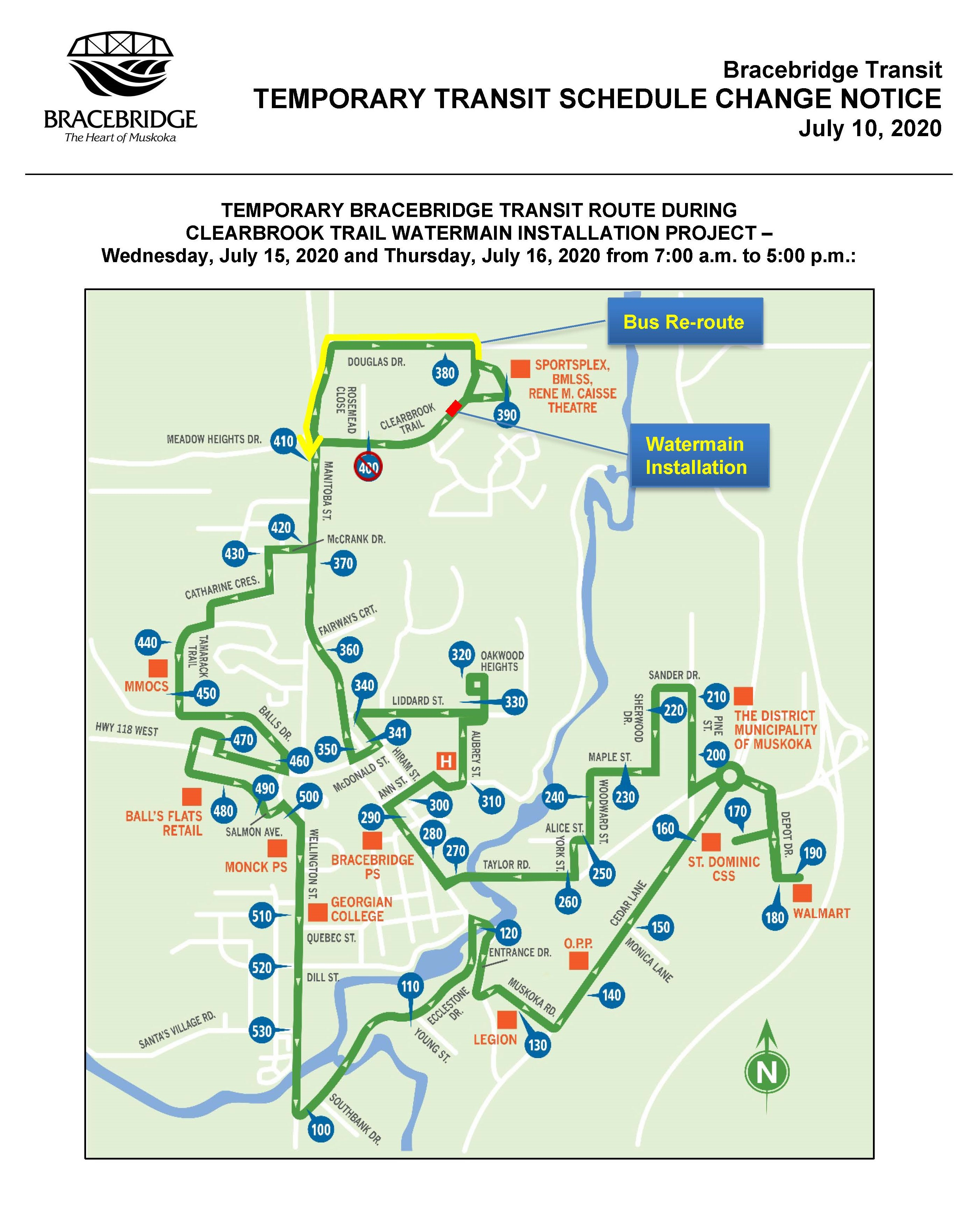 Temporary Transit Schedule Change - Clearbrook Trail