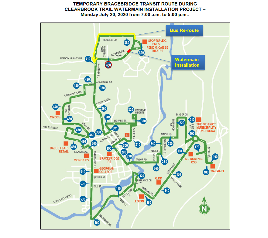 Temporary Transit Route Detour Map - Clearbrook Trail