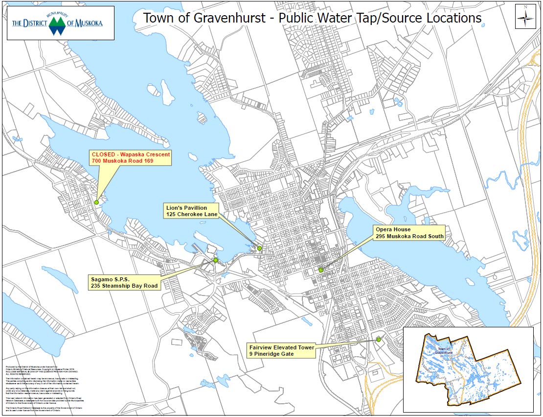 Publics Access Water Taps Map_Gravenhurst June 2018